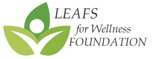 logo with three leafs and a person inside